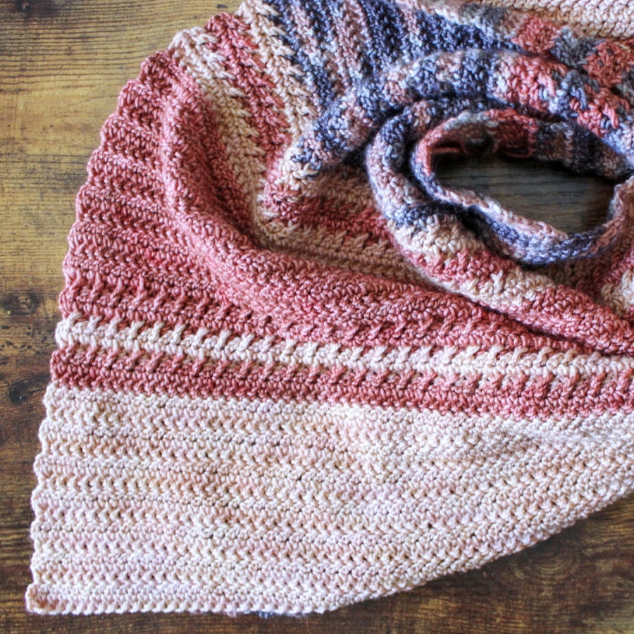 Close up of the crochet shawl, called the Amara Shawl.
