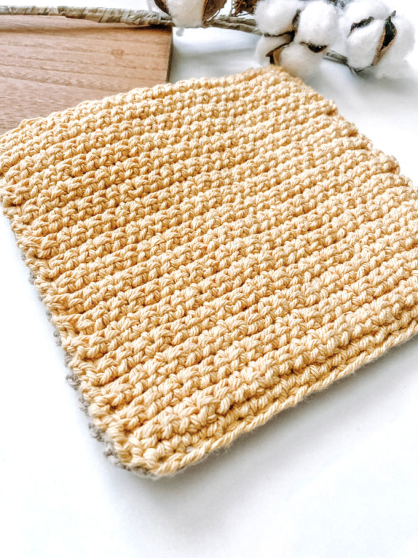 Close up of the stitching of a crochet hot pad, called the DebbieAnn Hot Pad.