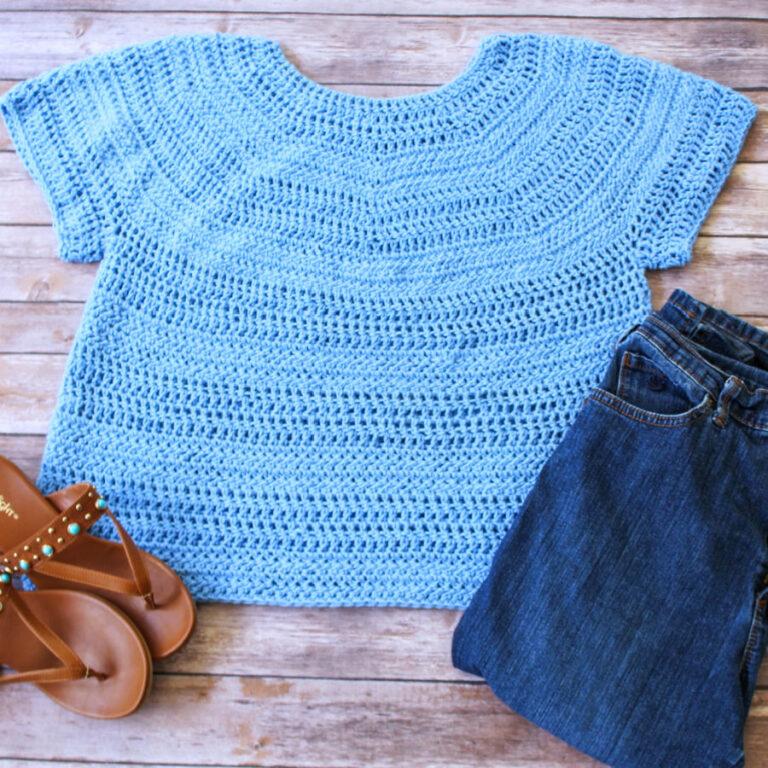 Free Crochet Top Pattern- Larkin Tee Sizes 2X-5X