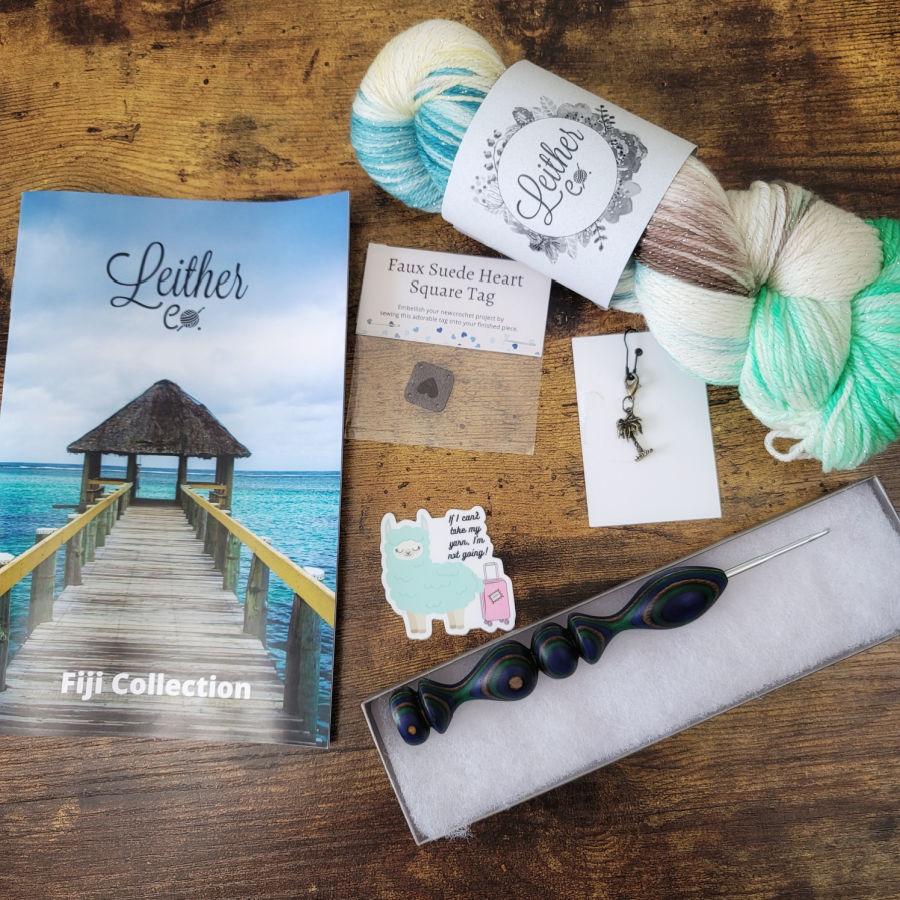 Flat lay photo of the Fiji Headband Crochet Kit items.