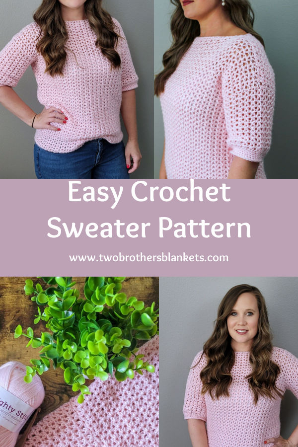 Easy Crochet Sweater Pattern- Spring Breeze Sweater Blouse- Two Brothers Blankets