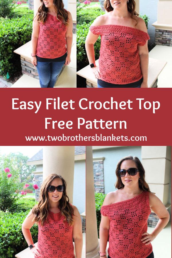 Easy Filet Crochet Top Free Pattern- Valerie Tee- Two Brothers Blankets