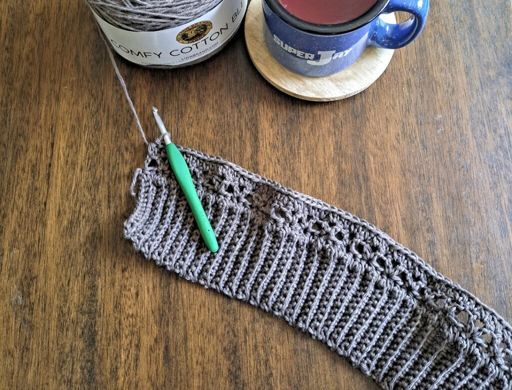 Flat lay of yarn used for the Tuesday Top crochet pattern.