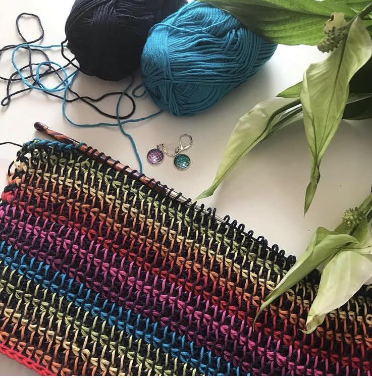 Progress photo of a tunisian crochet top.
