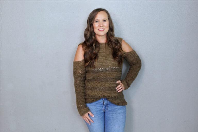 Crochet Sweater Pattern – Calgary Cold Shoulder