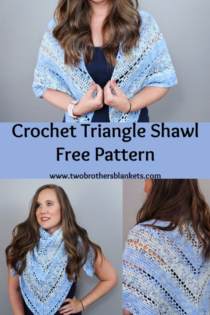 Crochet Triangle Shawl Free Pattern- Two Brothers Blankets