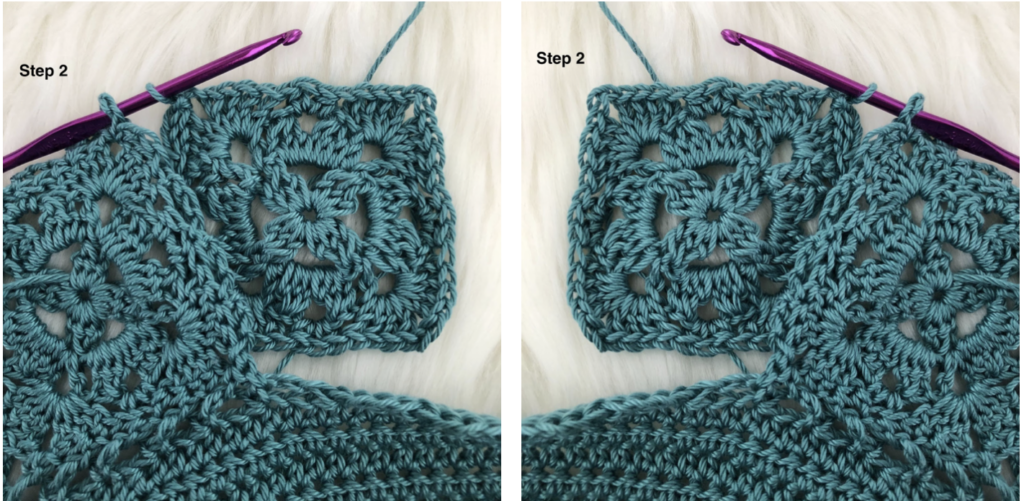 Join As You Go crochet tutorial steps 1 and 2.
