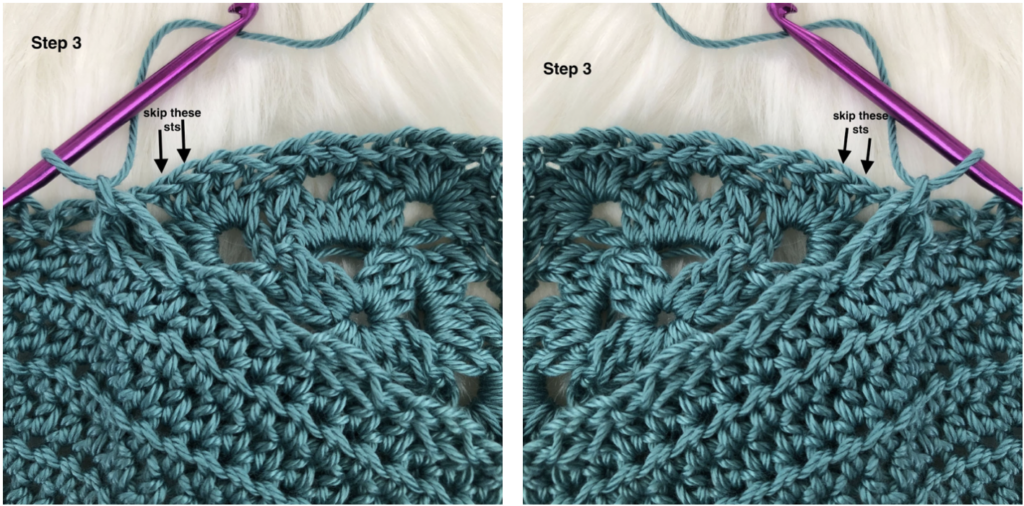 Join as you Go crochet tutorial step 3.