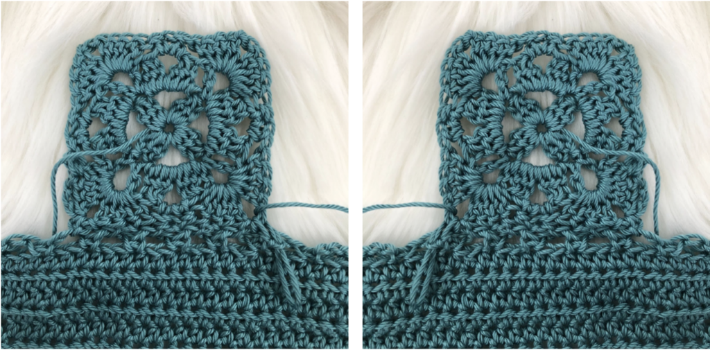 Close up of join as you go crochet method.